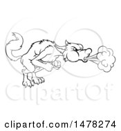 Clipart Of A Big Bad Wolf Blowing Royalty Free Vector Illustration