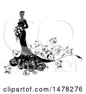 Clipart Of A Silhouetted Black And White Bride With Swirls Royalty Free Vector Illustration by AtStockIllustration