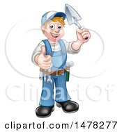 Clipart Of A White Male Mason Worker Holding A Trowel And Giving A Thumb Up Royalty Free Vector Illustration by AtStockIllustration