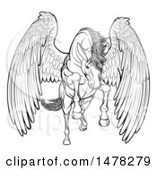 Clipart Of A Black And White Majestic Winged Horse Pegasus Flying Forward Royalty Free Vector Illustration by AtStockIllustration