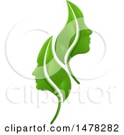 Clipart Of Green Leaves And Profiled Faces Royalty Free Vector Illustration