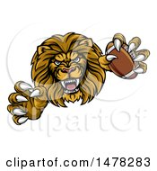Clipart Of A Tough Clawed Male Lion Monster Holding A Football Royalty Free Vector Illustration