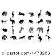Clipart Of Silhouetted Safari Animals Royalty Free Vector Illustration by AtStockIllustration