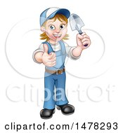 Clipart Of A Cartoon Full Length Happy White Female Gardener In Blue Holding A Garden Trowel And Giving A Thumb Up Royalty Free Vector Illustration