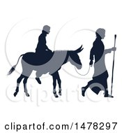 Silhouetted Virgin Mary On A Donkey And Joseph