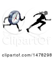 Clipart Of A Silhouetted Racing A Clock Character Royalty Free Vector Illustration by AtStockIllustration