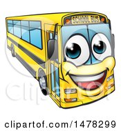 Clipart Of A Happy Yellow School Bus Royalty Free Vector Illustration