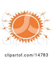 Blazing Hot Orange Sun Clipart Illustration
