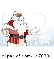 Clipart Of A Christmas Santa Claus Over Snowflakes Royalty Free Vector Illustration by dero