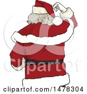 Rear View Of A Christmas Santa Claus Scratching His Head