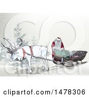 Clipart Of A White Elk Pulling Santas Sleigh Royalty Free Vector Illustration by dero