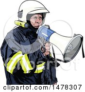 Clipart Of A Fireman Using A Megaphone Royalty Free Vector Illustration