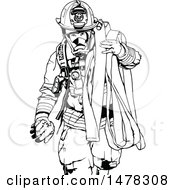 Clipart Of A Black And White Fireman Carrying A Hose Royalty Free Vector Illustration
