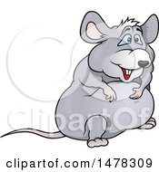 Clipart Of A Very Fat Gray Mouse Royalty Free Vector Illustration