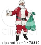 Clipart Of Santa Claus Holding A Green Bag Royalty Free Vector Illustration by dero