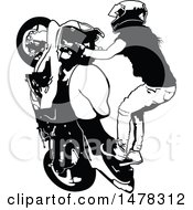 Clipart Of A Black And White Female Biker Doing A Stunt Royalty Free Vector Illustration