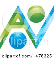 Clipart Of A Green And Blue Abstract A V Design Royalty Free Vector Illustration
