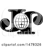 Clipart Of A Letter J And Globe Design Royalty Free Vector Illustration