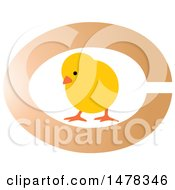 Clipart Of A Yellow Chick With An Egg Design Royalty Free Vector Illustration by Lal Perera