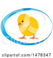 Clipart Of A Yellow Chick In A Blue Egg Design Royalty Free Vector Illustration