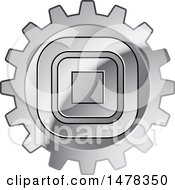 Poster, Art Print Of Silver Gear Cog Wheel With Squares