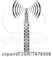 Clipart Of A Black And White Telecommunications Tower With Signals Royalty Free Vector Illustration