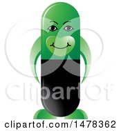 Clipart Of A Green Pill Capsule Mascot Royalty Free Vector Illustration