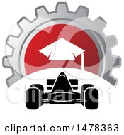 Clipart Of A Race Car And Gear Icon Royalty Free Vector Illustration