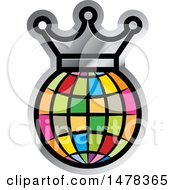 Clipart Of A Colorful Globe And Crown Outlined In Silver Royalty Free Vector Illustration by Lal Perera