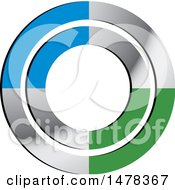 Clipart Of A Silver Green And Blue Circle Design Royalty Free Vector Illustration by Lal Perera