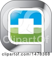 Clipart Of A Silver Blue And Green Icon Royalty Free Vector Illustration