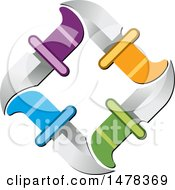 Clipart Of A Diamond Made Of Colorful Handled Knives Royalty Free Vector Illustration