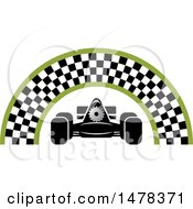 Clipart Of A Race Car Under A Checkered Arch Royalty Free Vector Illustration
