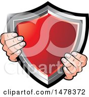 Clipart Of A Pair Of Hands Holding A Red Shield Royalty Free Vector Illustration by Lal Perera