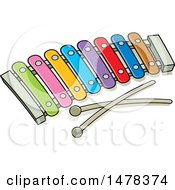 Clipart Of A Colorful Xylophone Royalty Free Vector Illustration by Lal Perera