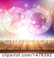 Clipart Of A Wood Table With Bokeh Lights Royalty Free Vector Illustration