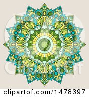Clipart Of A Mandala Design On Beige Royalty Free Vector Illustration
