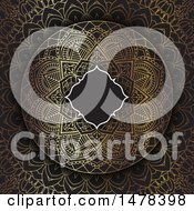 Clipart Of A Blank Frame Over A Golden Mandala Design On Black Royalty Free Vector Illustration by KJ Pargeter