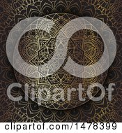 Clipart Of A Golden Mandala Design On Black Royalty Free Vector Illustration