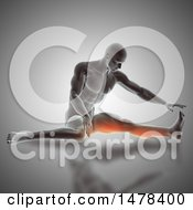 3d Man Stretching With Highlighted Leg Muscles On Gray