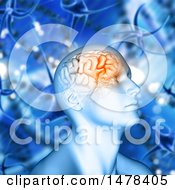 3d Man With Visible Brain Over Dna Strands And Viruses