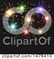 Clipart Of A Colorful Fireworks And Black Background Royalty Free Vector Illustration