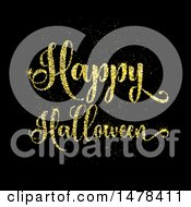 Golden Glitter Happy Halloween Design On Black