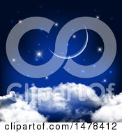 Clipart Of A Crescent Moon And Stars Over Clouds Royalty Free Vector Illustration