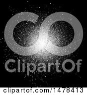 Clipart Of A Silver Confetti Burst On Black Royalty Free Vector Illustration