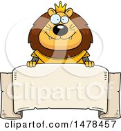 Clipart Of A Chubby Lion Knight Over A Banner Royalty Free Vector Illustration