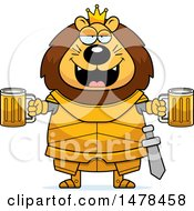 Clipart Of A Chubby Lion Knight Holding Beers Royalty Free Vector Illustration