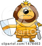 Clipart Of A Chubby Sad Lion Knight Royalty Free Vector Illustration