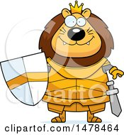 Clipart Of A Chubby Lion Knight Royalty Free Vector Illustration