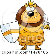 Clipart Of A Chubby Lion Knight Holding A Sword And Shield Royalty Free Vector Illustration by Cory Thoman